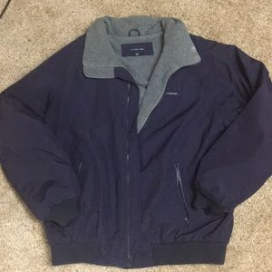 Lands' End Navy coat / jacket with gray lining